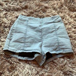 High waisted zip up shorts